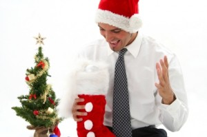 Man in Tie with Christmas Stocking
