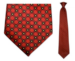 men's red plaid clip on necktie